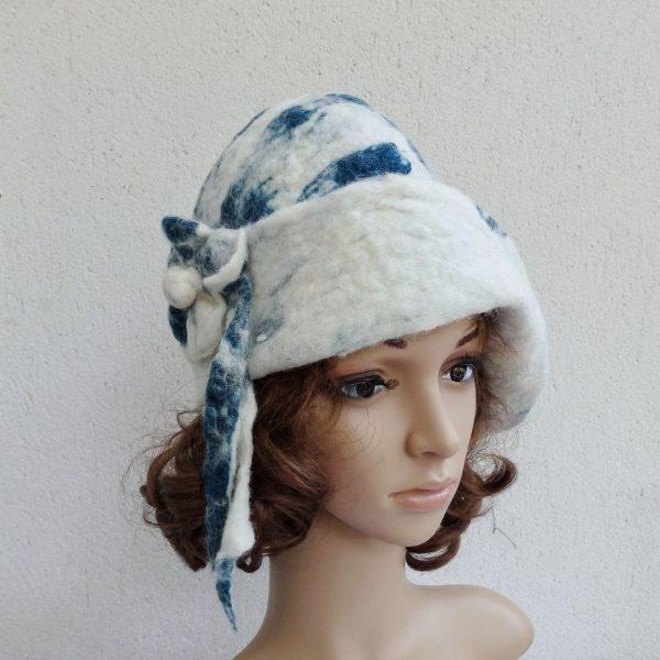 chapeau cloche vintage en laine de mouton