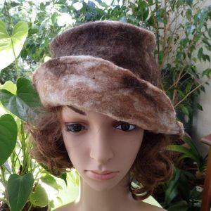 Chapeau cloche en mouton et lama naturel marron
